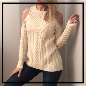 Beautiful Cold Shoulder Cream Cable Knit Sweater